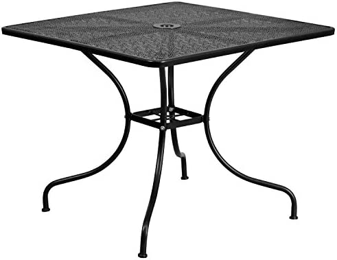 Flash Furniture Commercial Grade 35.5 Square Black Indoor-Outdoor Steel Patio Table