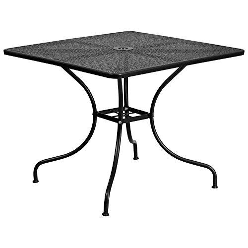 Flash Furniture 35.5'' Square Black Indoor-Outdoor Steel Patio Table (Outdoor Contemporary Designer Furniture)
