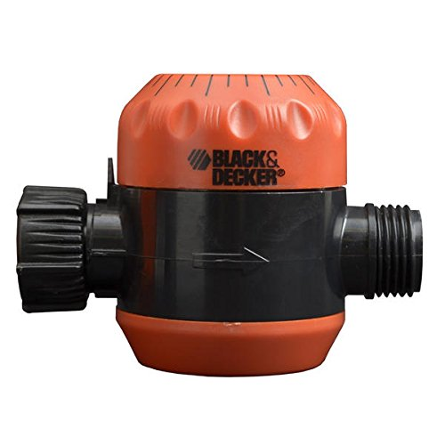 Black & Decker mechanical timer turns off water after set period, up to 120 minutes, has passed.