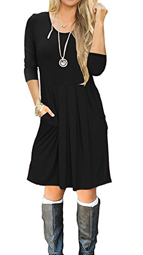 SouqFone Women's Pleated Loose Swing Casual T-Shirt Dress With Pockets Knee Length(3/4 Sleeve-Black,S)