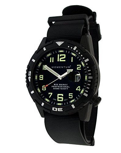 Momentum Men's 'M-50 Collection' Quartz Stainless Steel and Rubber Casual Watch, Color:Black (Model: 1M-DV54B11B)