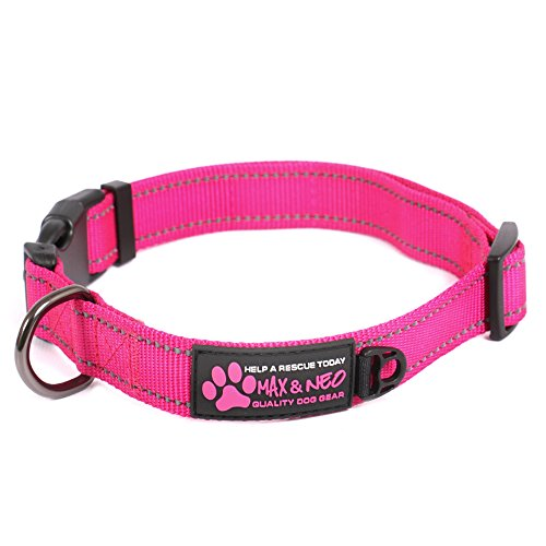 Max and Neo™ NEO Nylon Buckle Reflective Dog Collar - We Donate a Collar to a Dog Rescue for Every Collar Sold (LARGE, (Wide Nylon Collar)