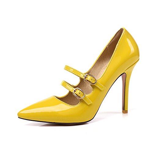 MEI&S Stiletto Femmes Hauts Talons Chaussures Chaussures Bouche Peu Profonde Yellow SGL6RS