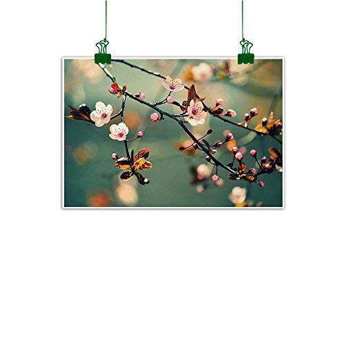 Unpremoon Nature Mural Spring Themed Asian Floral Flowering Japanese Cherry Sakura Photo Bathroom Wall Decor Light Pink and Forest Green W 32
