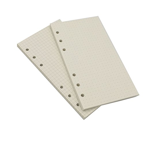 A6 Looseleaf Binder Paper Refills Set from Chris.W, 45 Sheets/Set x 2 Sets, Dot Grid/Square Grid Mixed (6.73x3.7 (Paper Refill Set)