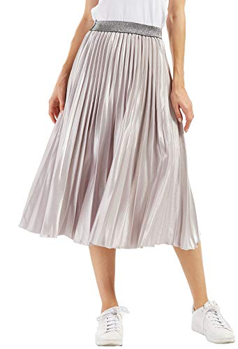 CHARTOU Womens Elastic-Waist Accordion Pleated Metallic Long Party Skirt (Gold, one Size)