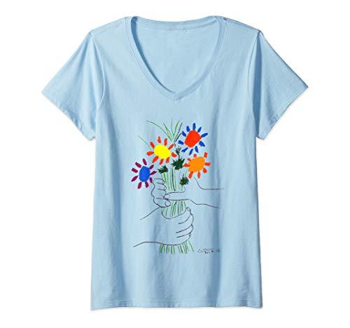 - Womens Pablo Picasso Flowers Bouquet With Hands (Of Peace) 1958 V-Neck T-Shirt