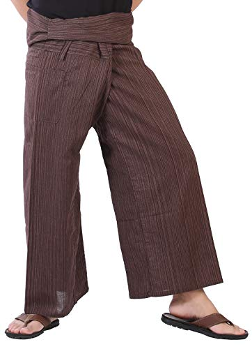 CandyHusky's Mens Womens Striped Cotton Fisherman Pants Casual Dance Yoga Pants (Brown) one size fits most