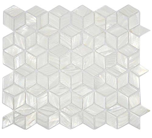 AFSJ White Rhombus Mother of Pearl Mosaic Tile for Bathroom/Kitchen/Spa Backsplash (One Full Sheet)