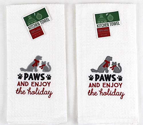Holiday Dog and Cat Kitchen Towels: Paws and Enjoy The Holidays Embroidery, Set of 2