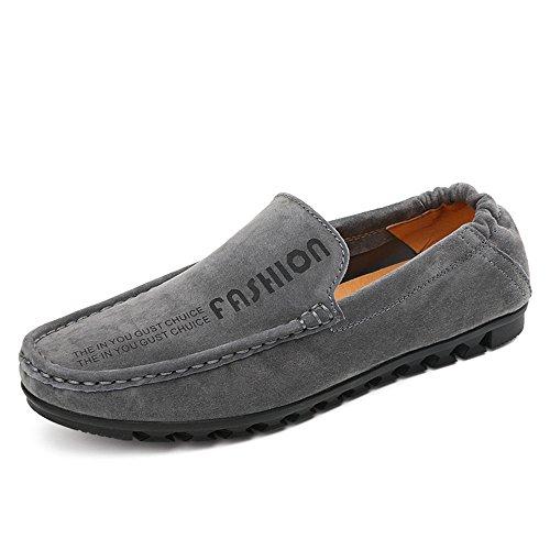 los elástico Xiazhi de con Conducción Penny detrás Boat tamaño EU Gris on Suela Color Hombres Suave Casual Mocassins 41 Slip Loafers Piso shoes rwxwatE4