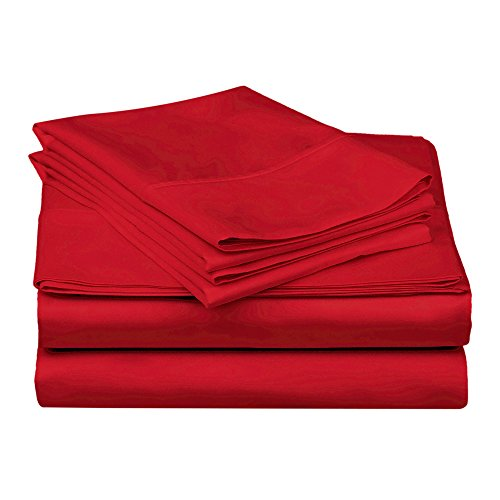 Superior 100% Premium Combed Cotton, 300 Thread Count 3-Piece Bed Sheet Set, Single Ply Cotton, Deep Pocket Fitted Sheets, Soft and Luxurious Bedding Sets - Twin, Red - Red Single Set