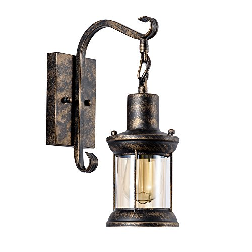 GLADFRESIT Vintage Wall Light Industrial Wall Sconce Glass Shade Lighting Fixture Retro Metal Wall Lamp for Indoor Home Décor Headboard Bedside Corridor Porch Oil Rubbed Bronze (Bulb Not Included)