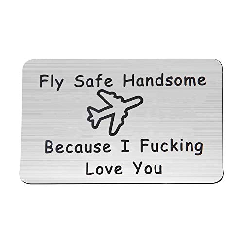 MAOFAED Fly Safe Keychain Pilot Gift Fly Safe Because i Fucking Love You Flight Attendant Gift Traveling Keychain Gift for Flight Staff Airline Worker (Fly Safe WC2)