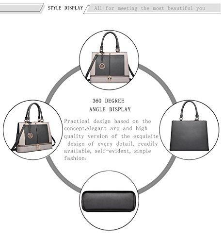 Ladies Miss Top Women Grey Handle Bags Shoulder for Leather Casual with Handbag Tote Strap Design Lulu qq4rwxWC5