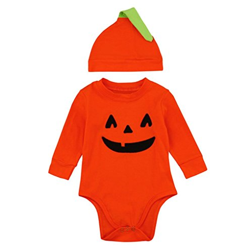 [Cute Little Pumpkin - WuyiMC Halloween Infant Jack O' Lantern Baby Bodysuit with Hat (6-12 Months,80CM, Orange)] (Snuggles Bear Halloween Costume)