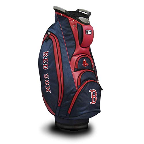Team Golf MLB Boston Red Sox Victory Golf Cart Bag, 10-way Top with Integrated Dual Handle & External Putter Well, Cooler Pocket, Padded Strap, Umbrella Holder & Removable Rain Hood