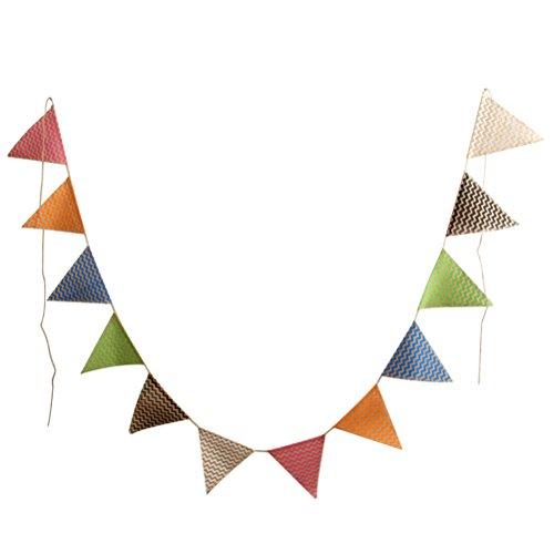 SanJL Vintage Jute Burlap Bunting Pennant Banner for Wedding Christmas Party Decoration,12pcs ()