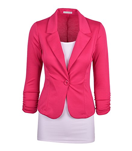 Hot Pink Jacket (Auliné Collection Women's Casual Work Solid Color Knit Blazer Hot Pink Medium)