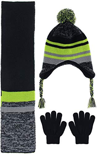 Capelli New York Boys Marled and Solid Stripe Earflap Hat and Magic Glove Set Green Combo Small