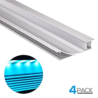 TORCHSTAR Molding Style 3.3ft Recessed/Flush Wall Mount Aluminum Profile Housing for Cove or Accent Lighting, U-Channel for LED Strip Light, Frosted Diffuser, End Caps, Pack of 4 (B01LXCQMTW) | Amazon price tracker / tracking, Amazon price history charts, Amazon price watches, Amazon price drop alerts