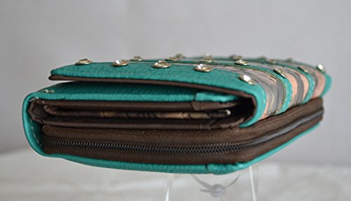oak checkbook wallet mossy clutch camo rhinestone women blue FBUqwa