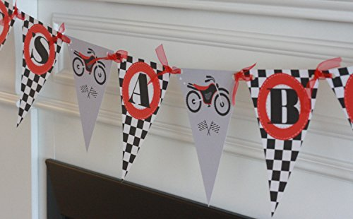 It's a Boy Pennant Flag Checkered Flag Black Red Motorcycle Motorcross Motor Bike Dirt Bike Race Car Party Theme Banner - Party Pack Specials & Matching Items Available (Dream Car Dirt)