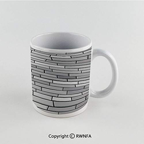 11oz Unique Present Mother Day Personalized Gifts Coffee Mug Tea Cup White Grey,Illustration of Brick Wall Contemporary Artptrint 3d Vision Odd Modern Shabby Decorative Home,Gray Funny Ceramic Coffee