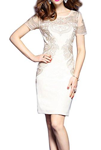 モジュールホステスチャネルRUIYA SENSE エレガンス 半袖 刺繍 スリムウエスト ワンピース 大きいサイズあり 結婚式  二次会 発表会 ドレス ワンピースT0197