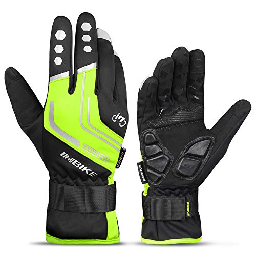 (INBIKE Cycling Winter Gloves,for Men Windproof Reflective Thermal Gel Pads Touch Screen MTB Mountain Bike Green Large)