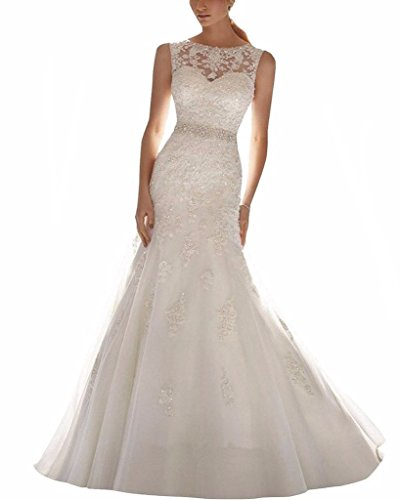 ScelleBridal Latest Sleeveless Lace Appliques Mermaid Bridal Dress Wedding Gown white 10