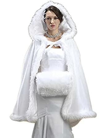 Veilace Women's Faux Fur Shawl with Muff Winter Bridal Cape Christmas Cloaks Jackets Hooded Bridal Wraps ..