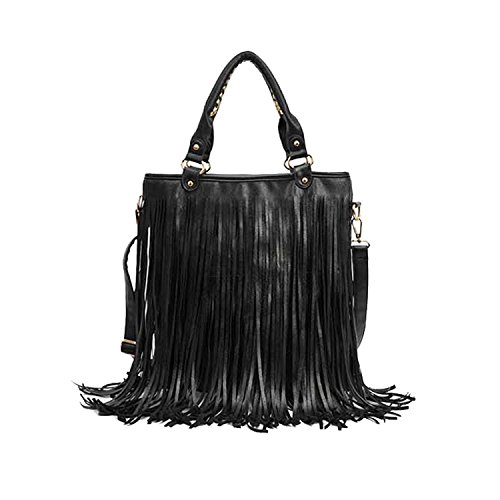 Fashion Women Punk Tassel Fringed Handbag Tote Shoulder Purse Bag ()