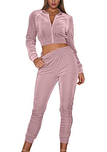 (Adogirl Women's Velour Two Piece Outfits Tracksuit Crop Jacket and Tenths Pants Pink S)