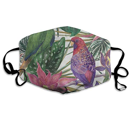 Custom Mouth Mask Anti-Dust Tropical Leaves Flower Parrot Bird Face Mask Breathable Mask With Adjustable Ear-loop Windproof And Warm -