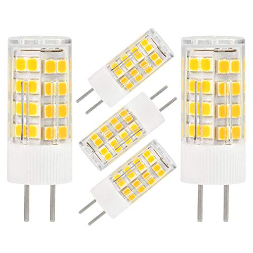 Gy6.35 50w Halogen Bulb - GY6.35 G6.35 LED Bulb GY6.35 Bi-pin Base 5W AC/DC 12V Daylight White 6000K-6500K G6.35/GY6.35 Base T4 JC Type LED Halogen Incandescent 40W Replacement Bulb Not-Dimmable (5-Pack)
