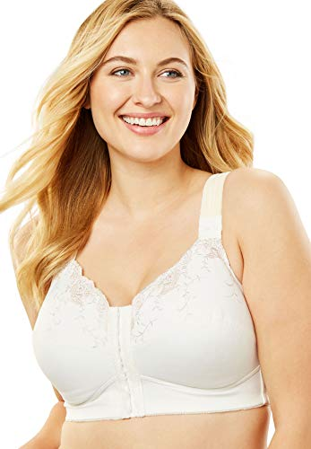 Comfort Choice Women's Plus Size Front-Close Embroidered Wireless Posture Bra - White, 50 G