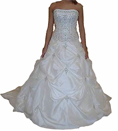Zhu Li Ya Women's Beaded Taffeta Prom Wedding Dresses Bridal Gowns (XXL, White)