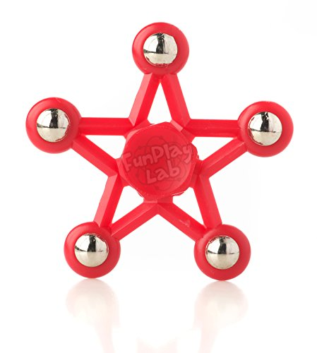 Star Hand Fidget Spinner - Best Anti Anxiety Toy for Adults and Teens with ADHD - 360 Long Spin Fidgit Helps Boys and Girls Focus and Relieve Stress (Red)