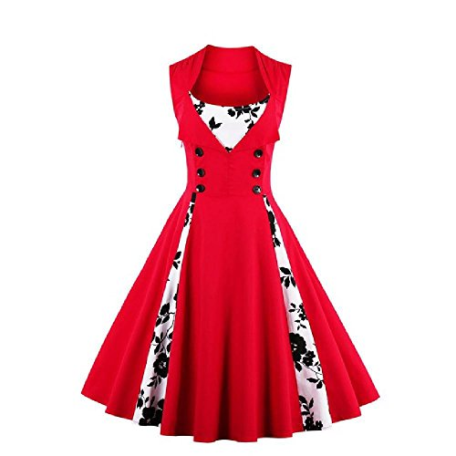 YoungG-3D Women Robe Pin up Dress Retro Vintage 50S 60S Rockabilly Dot Swing Summer Dresses Tunic Vestido at Amazon Womens Clothing store: