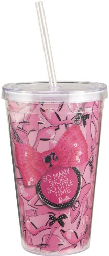 Vandor 95451 Barbie 18 oz Acrylic Travel Cup with Lid and Straw, Pink, Black, and White