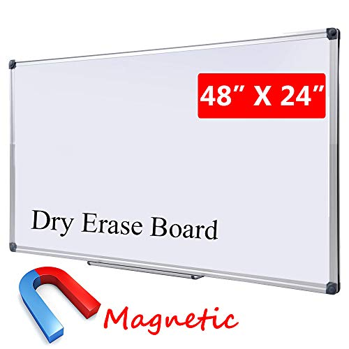 Magnetic White Board | Dry Erase Board with Pen Tray|Wall-Mounted Aluminum Message Presentation Whiteboard for Kids, Students & Teachers (48