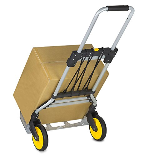 Mount-It! Folding Hand Truck and Dolly, 264 Lb Capacity Heavy-Duty Luggage Trolley Cart With Telescoping Handle and Rubber Wheels, Silver, Black, Yellow, by Mount-It!