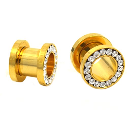 - Pair of Gold IP Steel Screw Fit Tunnels Clear CZ Multi Gem Rim Ear Plugs- 2G 6MM