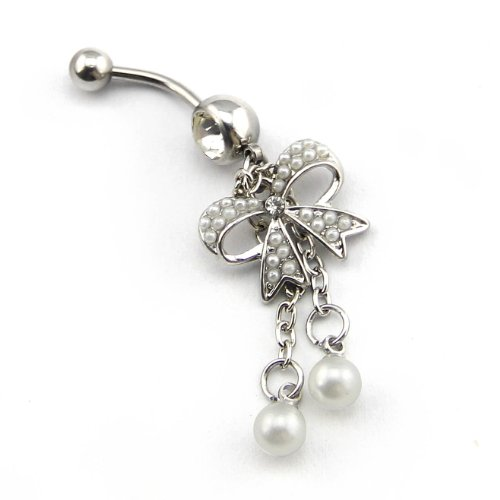 14g Pearl Butterfly with 2-tassel Bowknot Navel Ring Belly Button Bar barbell ()