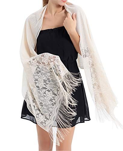 RIIQIICHY Women's Floral Lace Mesh Party Prom Wedding Shawl Scarf with Fringe (Shawl With Fringe)