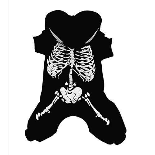 Pet Dog Cat Halloween Costumes, Skeleton Hooded Sweatshirt for Puppy (Black, M)