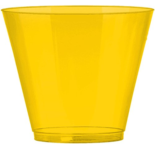 Amscan Big Party Pack Sunshine Plastic Cups, 9 oz, Yellow