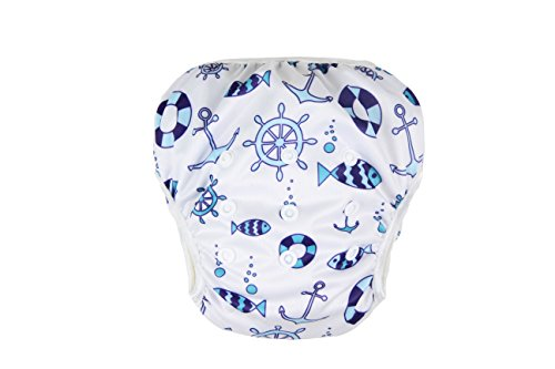 Reusable Swim Diaper, Adjustable & Stylish Fits Diapers Sizes N-5 (8-36lbs) Ultra Premium Quality for Eco-Friendly Baby Shower Gifts & Swimming Lesson from Tiffany & Tate