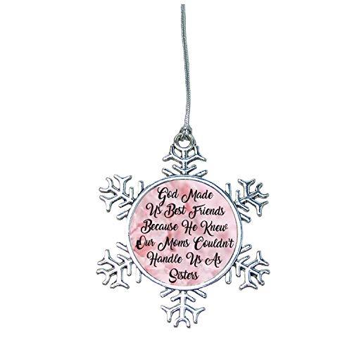 Best Friends Snowflake Christmas Ornament Silver Plated Metal Gift Keepsake Pink